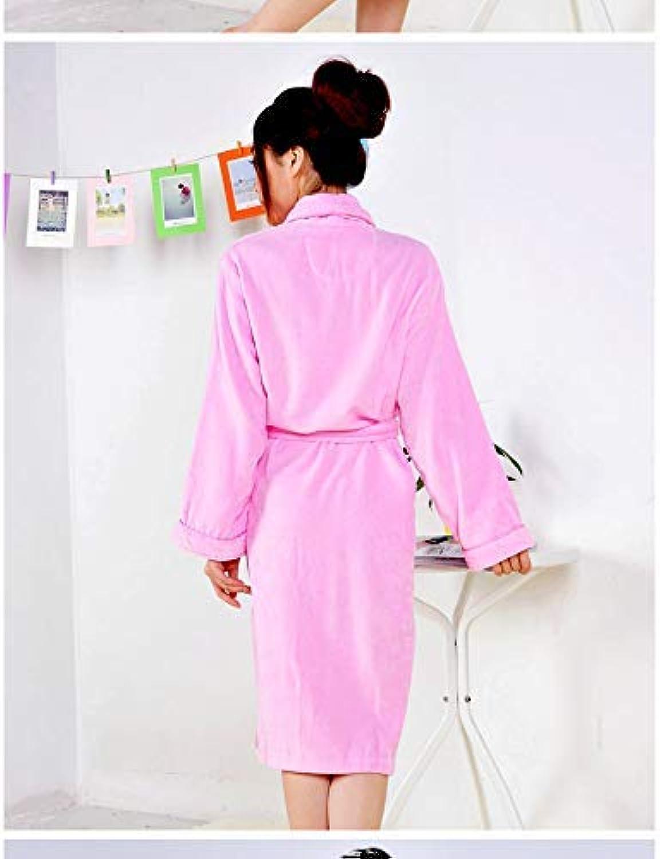 Pyjamas, Cotton Bathrobe Men and Women Thick Towel Cut Velvet Bathrobe Autumn and Winter Long Paragraph Plus Fertilizer to Increase The Nightgown (color   Pink, Size   M (Length 110cm))