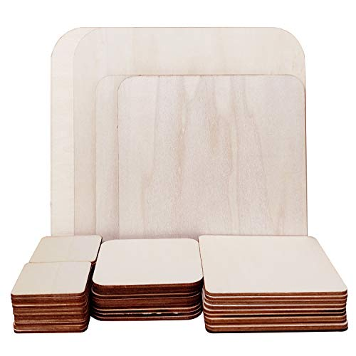 46 Pcs Unfinished Blank Wood Squares, 5 Sizes Pyrography Wooden Blanks Natural Square for Woodcraft, Gifts Decorations, Pyrography and Christmas Ornaments DIY Crafts Gifts