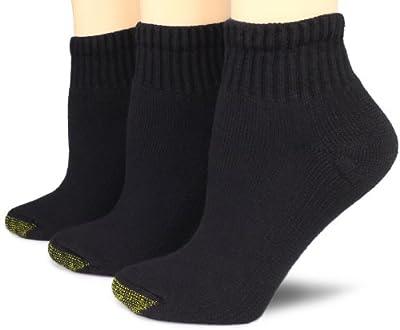 Gold Toe Women's 3-Pack Ultratec Qurarter Socks, Black, Shoe Size: 6-9