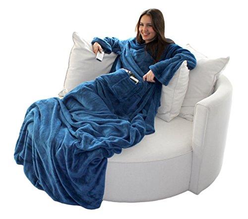 Brandsseller Flauschige TV-Decke mit Ärmeln in Cashmere Feeling - Fußsack und 2 Taschen - Kuscheldecke Tagesdecke - 170 x 200 cm - Blau