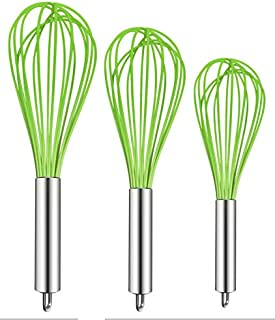 TEEVEA (Upgraded) 3 Pack Very Sturdy Kitchen Whisk Silicone Balloon Wire Whisk Set Egg Beater Milk Frother Kitchen Utensils Gadgets for Blending Whisking Beating Stirring Green