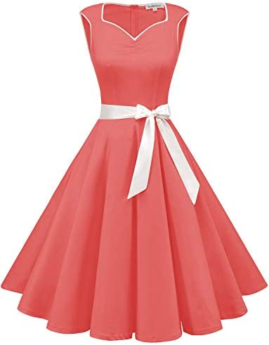 Women s Short 1950s Retro Vintage Swing Coral Dress Retro Rockabilly Cocktail Party Dress Coral product image