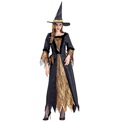Lomelomme Halloween Halloween Party Cosplay Hexe Kostüm Frauen Kleidung Vintage Gothic Kleid Lang...