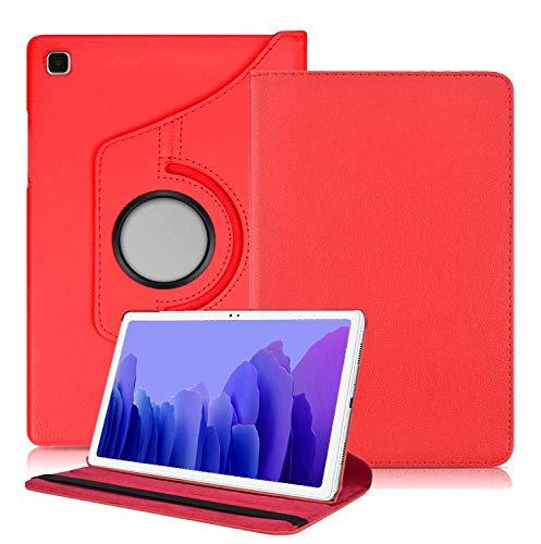 Kemocy Funda para Samsung Galaxy Tab A7 10.4 2020,360 Rotación PU Piel Flip Cover con función de soporte Funda para Samsung Galaxy Tab A7 10.4 (T500/T505/T507) 2020 Tablet Rojo