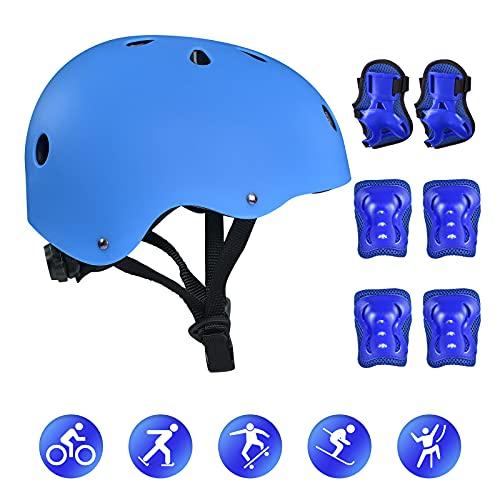 Bellanny Juego de Protección para Cascos de Bicicleta de 7 Piezas, Rodilleras, Coderas y muñeca para Patines, patinetas, Scooters y Otros Juegos de Equipos para Deportes Extremos al Aire Libre, Azul