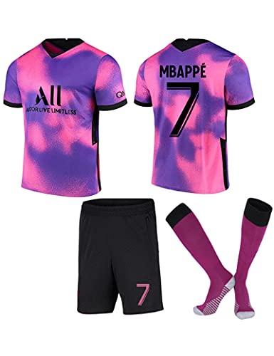 Fußballuniform Herren 2021 Paris Fußballtrikot for Kinder Männer #7 Kylian Mbappé Auswärts Fußball Trikots Fans Jersey Kinder T-Shirt Shorts Club Team Fußball Uniform mit Fußballsocke