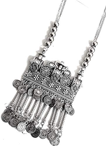 Indian Ethnic Silver Oxidized Bollywood Fashion Handmade Tribal Afghani Gypsy Statement Long Sweater Coins Necklace Jewellery (Silver)
