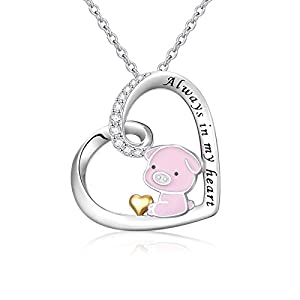 925 Sterling Silver Cute Animal Heart Pendant Necklace with Words Engraved, Chain 18 inch Women Girls Mother's Day Birthday Gift
