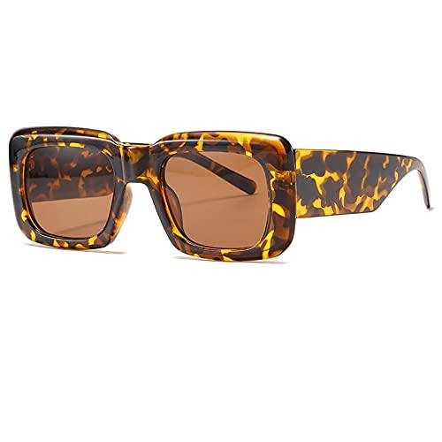Gafas De Sol Gafas De Sol Cuadradas Vintage para Mujer, Nuevas Gafas De Sol Negras Y Rojas, Gafas De Sol para Mujer De Moda Superior Plana Uv400, Gafas Únicas C3Leopard-Brown