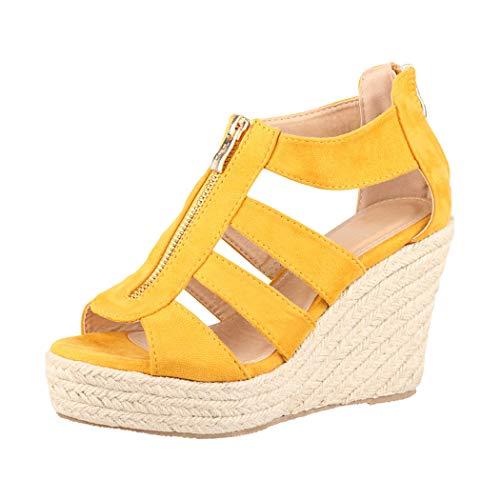 Jumex Elara Sandalias de Mujer Tacón de Cuña Plataforma Chunkyrayan TH82221 Yellow-37