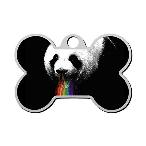 Print Stainless Steel Anti-allergic Panda Rainbow Pet ID Dog Tag, Customizable Information Pet Badge for Dogs Cats