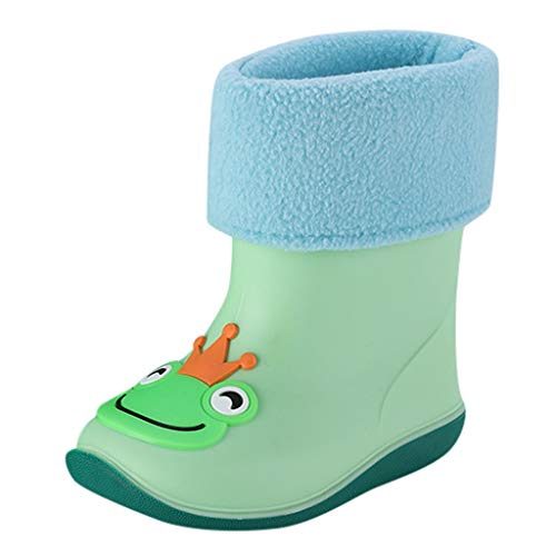 Toddler Boys Girls Fall Winter Rain Boots Rain Shoes for 1-10 Years Old Children Waterproof Non-Slip Galoshes (18-24 Months, Green)