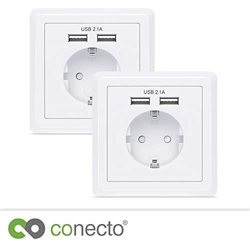 conecto CC50500 Geaard stopcontact, inbouwstopcontact, wandcontactdoos, inbouw met 2x USB-aansluiting, wit (2 stuks)