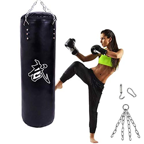 XHLLX Punching Bags Black Heavy Hole Bag, PU Leather Hollow Box Sandbag, Thai Box Sand Bag, Fitness Sanda