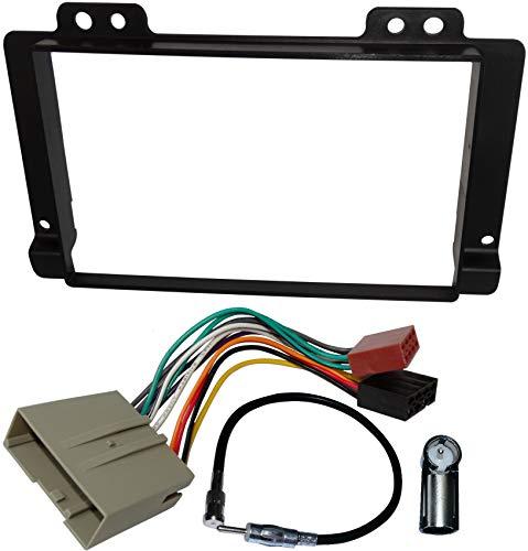 AERZETIX - Kit de montaje de radio de coche estándar 2DIN - Marco, cable enchufe y adaptadores de antena - Negro - C40941A