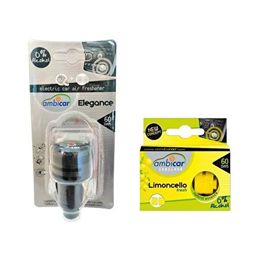 AMBICAR - Ambientador eléctrico para COCHE. Pack Nº2 (DIFUSOR + RECAMBIOS Elegance y Limoncello) Esencias Naturales, SIN Alcohol ni Químicos. Fragancia jazmín y aroma limón