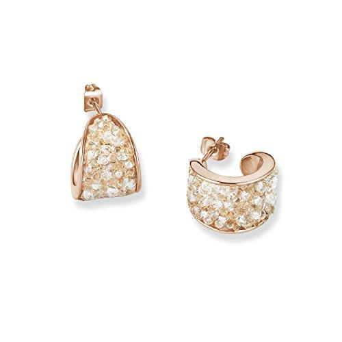 s.Oliver 567961 - Pendientes de aro para mujer, acero inoxidable y cristal blanco