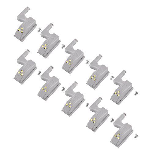 TopHGC 10PCS Bisagra de luz LED, Sensor LED Gabinete de luz Armario Armario Iluminación Sensor Luces nocturnas (Blanco Frío)