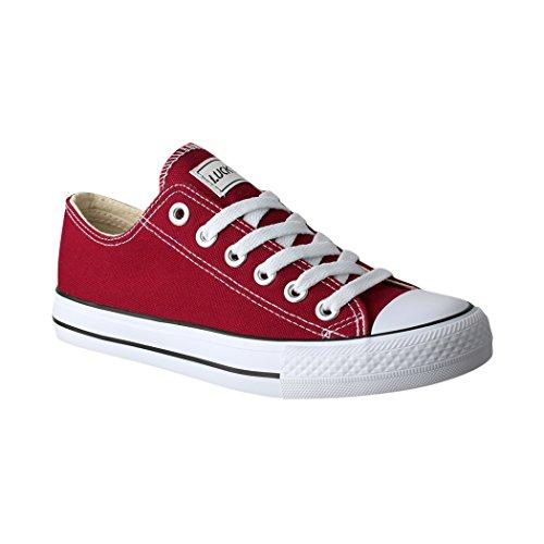 Elara Lucky-Z Unisex Sneaker Textil Turnschuh Low top Chunkyrayan 089-A-Bordo-40