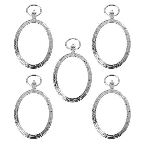 ZJL220 5 piezas de reloj de bolsillo ovalado, marco de metal, colgante en la parte posterior abierta, bisel de resina, fabricación de joyas