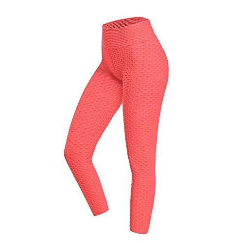 Nileco Tiktok Mujeres Polainas,Levantamiento De Butt Control De La Barriga Polainas Alta Cintura Pantalones De Yoga Leggins De Celulitis-Rojo Rosa XXXL