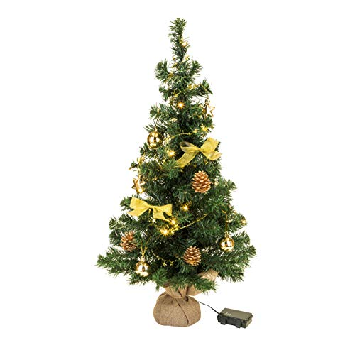 Bambelaa! Weihnachtsbaum Künstlich Mit Beleuchtung Geschmückt Tannenbaum Dekoriert Christbaum Beleuchtet LED 75cm Gold