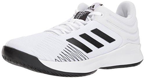 adidas Men's Pro Spark Low 2018 Basketball Shoe, White/Black/Grey, 10 M US