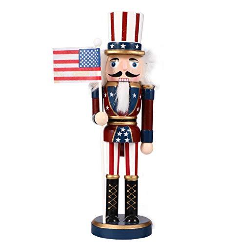 PRETYZOOM Weihnachten Nussknacker Figuren Puppe 25CM Amerikanische Soldaten Holz Dekofigur Weihnachtsfiguren Holzfiguren Weihnachtsschmuck Tischdeko Geschenke Ornamente Xmas Deko Objekt