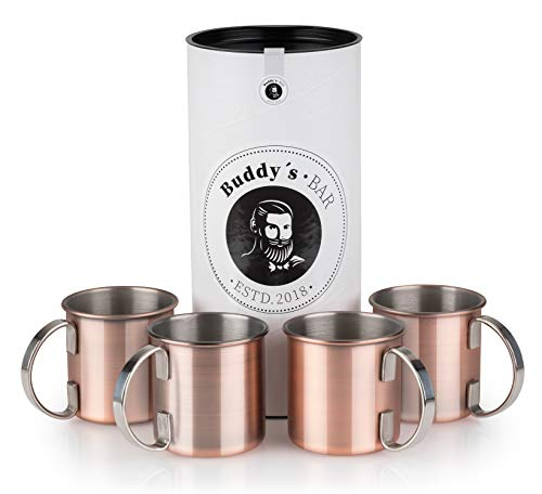 Buddy's Bar - Taza Moscow Mule, set de 4,4x450ml,tazas de acero de alta calidad con revestimiento de cobre antiguo, apta para alimentos, aspecto vintage, tazas para cócteles con caja de regalo