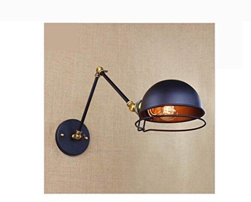 LH@ antique retro black metal wall lamp swing arm wall lighting for workroom Bathroom