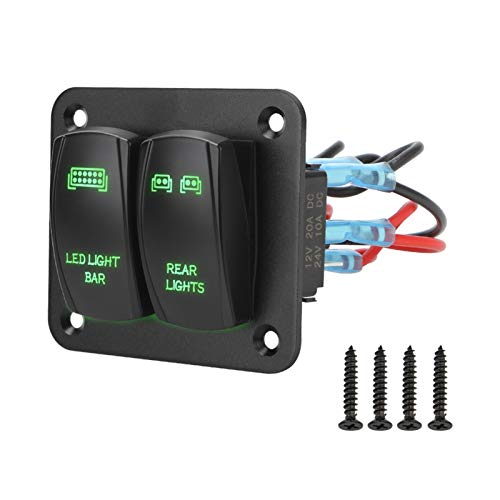 ZXH Home 5 Pin On/Off Toggle con LED Light 2 Gang Rocker Interruptor Panel Cableado Arnés Interruptor Panel de Control Partes Interiores Ajuste para Coche ATV UTV (Color : Green)
