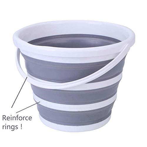 K-ONE Actualización de Cubo de Agua Plegable con Anillo de Refuerzo Cocina de Camping Barriles de Pesca Baño Plegable Plegable Lavado de Autos, 10L Tipo de Refuerzo