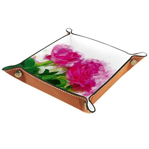 KAMEARI Bandeja de cuero con diseño de rosas y flores de color rosa brillante para llaves, monedero de piel de vacuno, práctica caja de almacenamiento para carteras, relojes, llaves, monedas