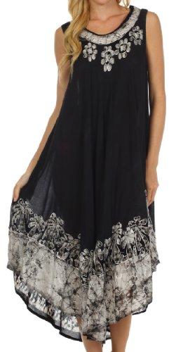 Sakkas 40SE Sundari Kaftan-Behälter-Kleid/Cover Up - Schwarz/Weiß - One Size