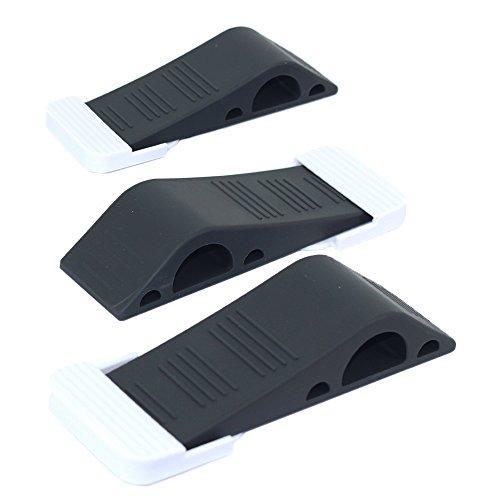 Antecrea ラバー製 ドアストッパー 弾性あるドアホルダー 蓋付き 玄関 室内に適用 ブラック (3個セット)