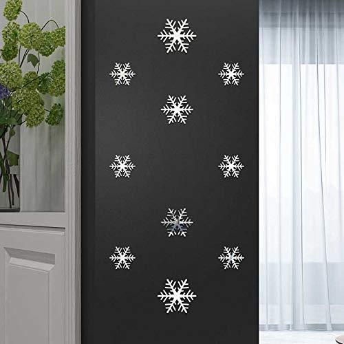 Pegatinas de pared para salón con diseño de copo de nieve, color dorado y plateado