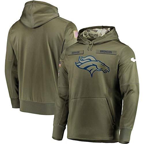 Xyy NFL Jersey- Denver Broncos- Fan Hoodie, grün hohe Qualität Armee gestickten Sweatshirt, American-Football-Trikot NFL Hoodie (Color : Man, Size : 2XL)