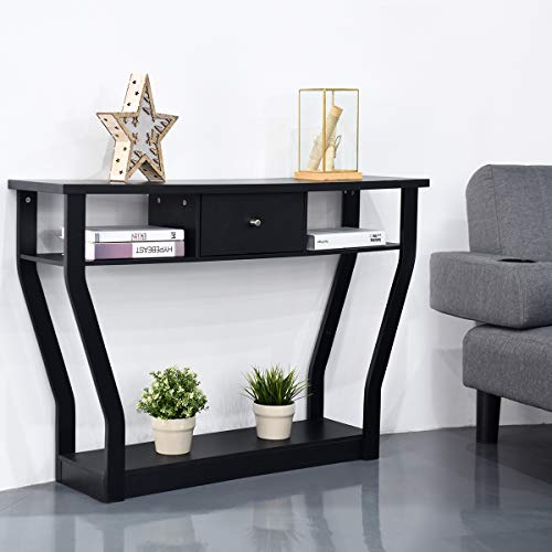 BestComfort 3 Tiers Console Table with Drawer, 47'' Wooden Accent Table with Open Storage Shelves, Easy Assembly, Narrow Sofa Side Table for Hallway Entryway Living Room (Black)
