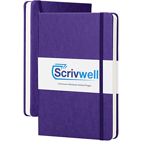 Scrivwell Dotted A5 Hardcover Notebook - 208 Dotted Pages with Elastic Band, Two Ribbon Page Markers, 120 GSM Paper, Pocket Folder - Great for Bullet journaling - Purple