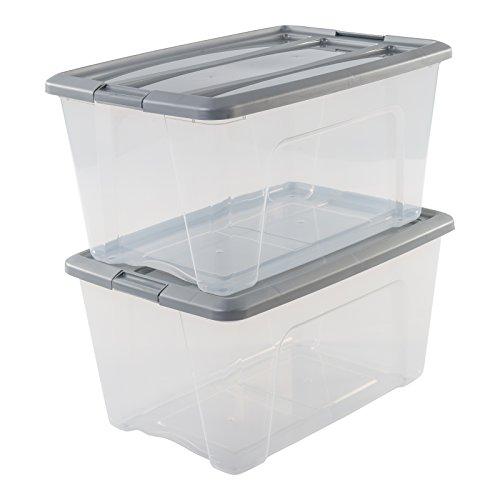 IRIS OHYAMA stapelbare Aufbewahrungsboxen mit Klickverschluss, Plastik, transparent, Grau Deckel, 45 L,  2er Set