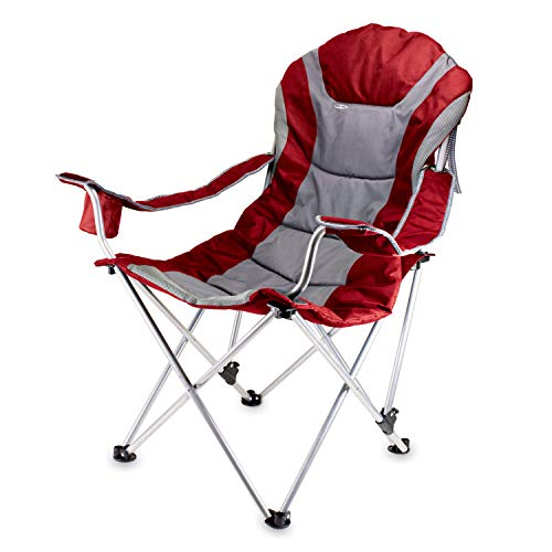 Picnic Time Portable Reclining Camp Chair, Red/Gray, 8 x 8 x 41 inches