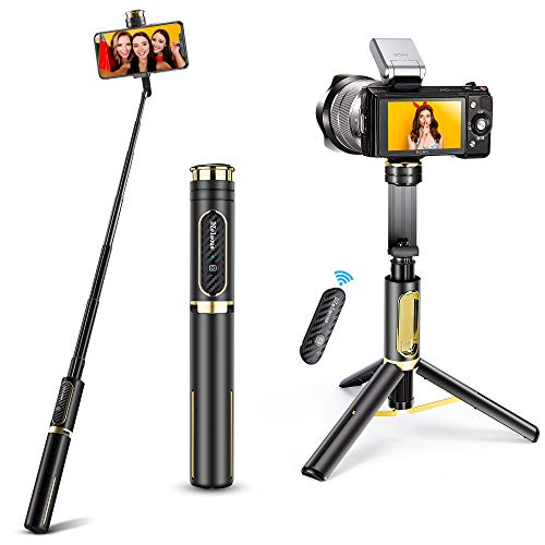 Selfie Stick Tripod, DZeleoue 4 in 1 Aluminium Bluetooth Selfie Stick with Screw Mount, Extendable Tripod with Remote for iPhone 12/11 Pro/XS Max/XS/XR/X/8, Samsung, GoPro, Osmo Action and More