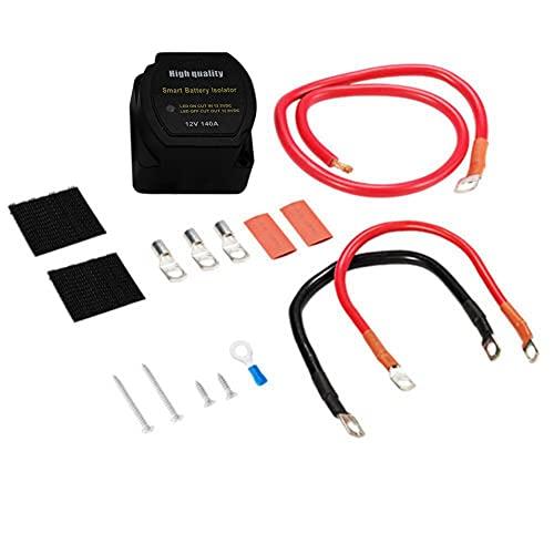 SODIAL Aislador de Sistema de BateríA Dual 12V Interruptor de Relé Sensible Al Voltaje 140AMP VSR