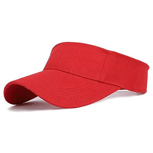 Primavera Verano Deportes Gorra para el Sol Hombres Mujeres Visera de algodón Ajustable Protección UV Top Vacío Tenis Golf Correr Sombrero Protector Solar-Red