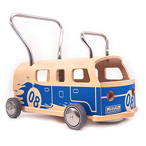 3-i-1 Lära-gå-vagn + Åkleksak Balòss 8 Blå i trä, tillverkad i Italien