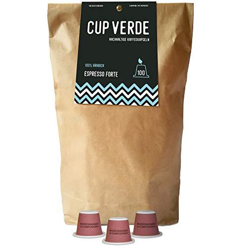 CUP VERDE – 100 nachhaltige Kaffeekapseln Nespresso* kompatibel. Biologisch abbaubar – fair gehandelt - schonend geröstet, kräftiger Geschmack - wenig Verpackung. Espresso Forte