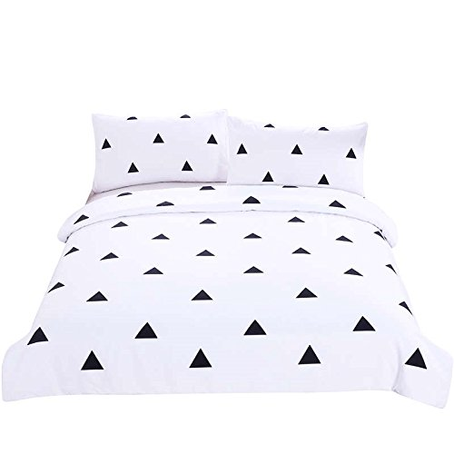 LightInTheBox Bedding 3 Piece Duvet Cover Set King/Queen/Full/Twin, Reversible Printing with Brushed Microfiber, Lightweight Soft, Comfortable , Durable Black and White Triangle (King)