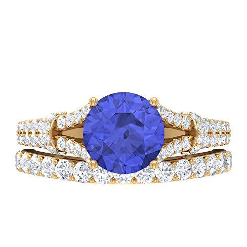 Rosec Jewels 14 quilates oro amarillo redonda Round Brilliant Blue Tanzanita creada en laboratorio Moissanite