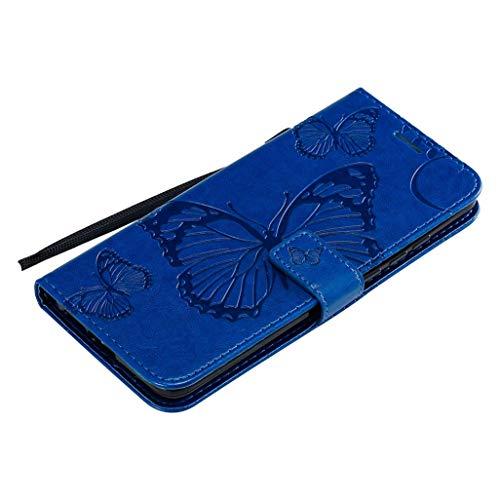 HAOYE Cover per LG K41S / LG K51S, LG K41S / LG K51S Custodia per Cellulare Portafoglio in Pelle Goffrata con Motivo a Farfalla, con Vani di Carte e Chiusura Magnetica, Blu