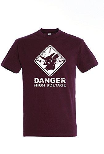 Uraeus T-Shirt Humour Danger High Voltage Pokemon Pikachu (L, Bordeau)